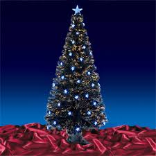 black fibre optic artificial indoor christmas tree blue stars 3ft