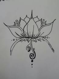 japanese fish and lotus flower tattoo outline on paper tattoo