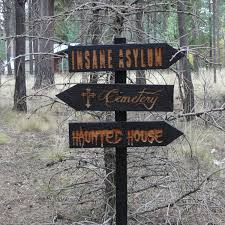 decisions 3 halloween lawn ornament sign haunted house