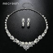 earring necklace sets wedding images Mecresh elegant simulated pearl bridal jewelry sets silver color jpg