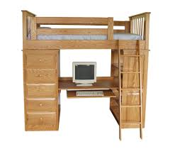 bedroom two tone wooden loft bunk bed which equipped with desk