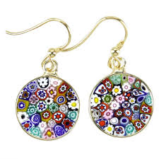 dangling earrings murano earrings millefiori murano dangle earrings gold