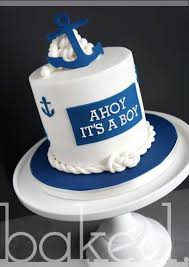 nautical baby boy shower cake