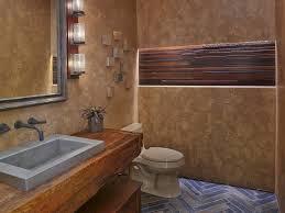 Wood Wall Treatments Bathroom Brown Walls Drop In Sink Wood Countertops And Brown