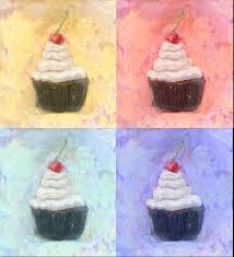 four cupcake with vanilla frosting cherry on top oil painting