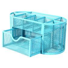 Black Wire Mesh Desk Accessories by Deli Desk Organizer Metal Mesh 9 Compartments Blue