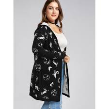 halloween plus size hooded graphic cardigan with pockets black