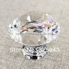 5pcs 30mm zinc alloy clear glass crystal knobs and handles cabinet