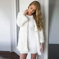 arealna winter women white faux fur coat long sleeve jacket women