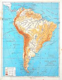 America Continent Map by Map Of South America Physical Map Continent Map Antique