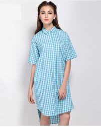 blue and white plaid shirt dress for women long shirts short