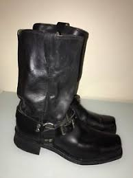 s boots size 9 1 2 mens unbranded square toe harness motorcycle leather black boots