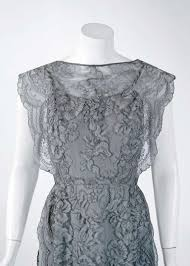 1950 u0027s irene lentz grey chantilly lace illusion scalloped cocktail