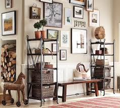 lovely pottery barn corner entryway bench between metal storage