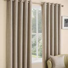 Coloured Curtains Huxley Oatmeal Fully Lined Ring Top Curtains