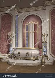 vintage room marble bathtub candelabras stock illustration