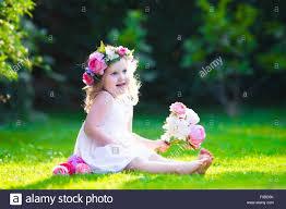 Summer Garden Dresses - little cute with pink flowers child wearing a white dress