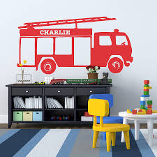 baby nursery decorative wall stickers decorations large size child room decoration stickers red fire trucks wall decal decor wallpaper idea