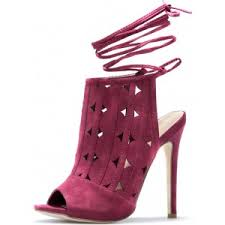 Plum High Heels Burgundy Lace Up Sandals Stiletto Heels Hollow Out High Heel Shoes