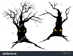 halloween silhouette vector creepy halloween trees evil eyes set stock vector 225046033