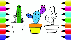 how to draw colorful cactus coloring pages for children art