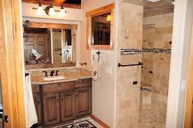 Doorless Shower For Small Bathroom Bathroom Design Doorless Shower Designs With Wood Bathroom Vanity
