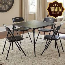 cosco 5 piece card table set black cosco products 5 piece folding table and chair set black ebay