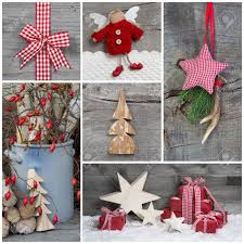 christmas decoration in country style in red checkered stock photo