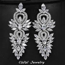 big diamond earrings vintage wedding party jewelry accessories gorgeous cubic zirconia