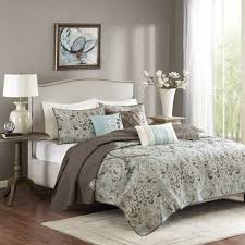 Grey Quilted Bedspread Madison Park Geneva 6 Piece Quilted Coverlet Set Ebay
