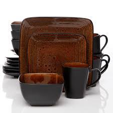 gibson elite elite autumn 16pc square dinnerware set black