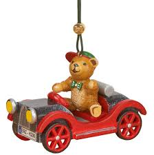 tree ornament car with teddy 5 cm 2in by hubrig volkskunst