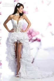 wedding dresses high front low back discount a line wedding dresses white organza spaghetti straps