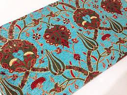Velvet Chenille Upholstery Fabric Meter Yard Tulips Chenille Ethnic Tribal Style Chenille