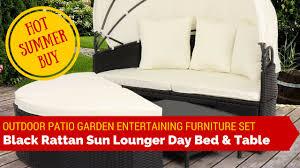 black circular round rattan sun lounger day sofa bed furniture set