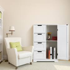 Floor Storage Cabinet Homfa Bathroom Floor Cabinet Wooden Free Standing Storage Cabinet