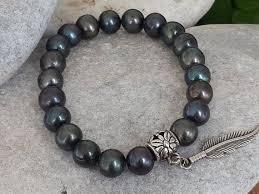 black pearl bracelet images Men 39 s black pearl jewelry ocean inspired natural stone jpg