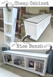 Real Simple Storage Bench Instructions by Cheap Cabinet Into Nice Bench Laminate Cabinets Storage Benches