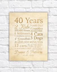 40 anniversary gift 40 year anniversary 40th anniversary gift for parents