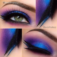 awesome bright blue purple eye makeup with black blue glitter liner lr