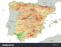 physical map of spain high detailed spain physical map labeling stock vector 358339001