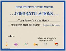 certificate template student of the month gallery certificate