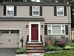exterior paint colour palette with charcoal gray roof and stone