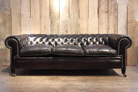 Vintage Chesterfield Sofa For Sale Vintage Black Leather Chesterfield Sofa For Sale At Pamono Inside