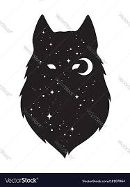 silhouette of wolf with crescent moon and vector image