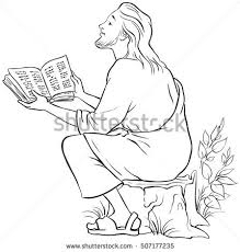 jesus in the manger coloring page jesus reading bible coloring page available stock vector 507177235