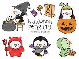 Cute Halloween Graphics by Premium Vector Clipart Kawaii Halloween Penguins Cute