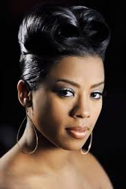 keyshia cole pinned up curl hairstyle updo black women and
