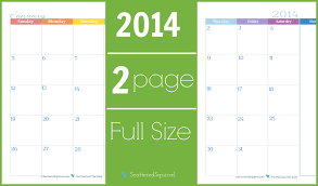 calendar planner template 2014 2014 calendar two page monthly scattered squirrel