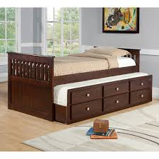 Espresso Twin Bed With Trundle Bedroom Boys Twin Trundle Bed Captain Beds With Trundle